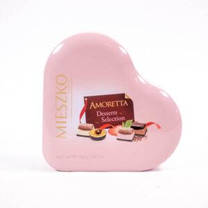 לה ולי פרחים - קופסת שוקולד לבבות ממתכת