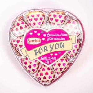 לה ולי פרחים קופסת שוקולד בצורת לבבות